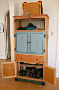 Entry way hutch made from salvaged wood