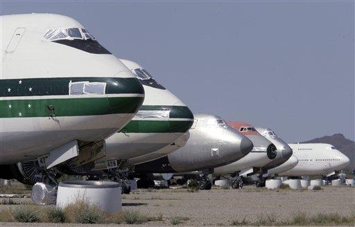 Parked passenger jet planes