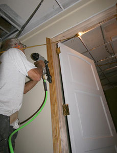 Stephen Frank installs trim in the new Bellingham facility