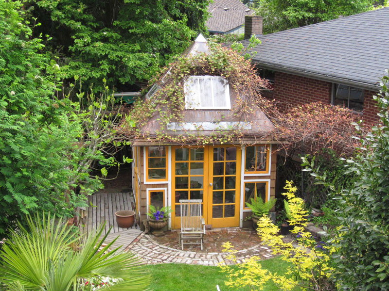 Aerial view of DW's potting shed made from reclaimed materials