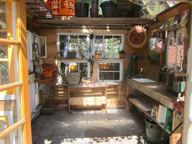Greenhouse or potting shed what to do with old windows for Shed ideas inside