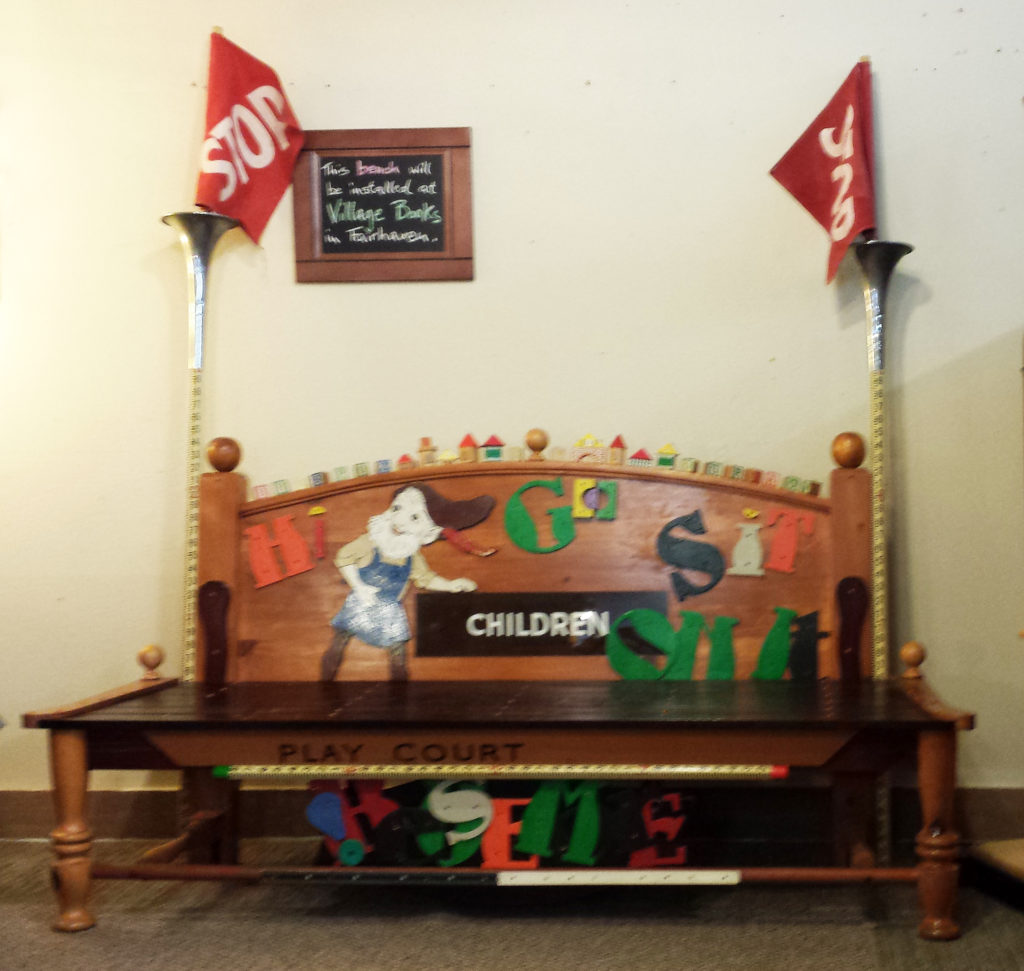 village books childrens section bench