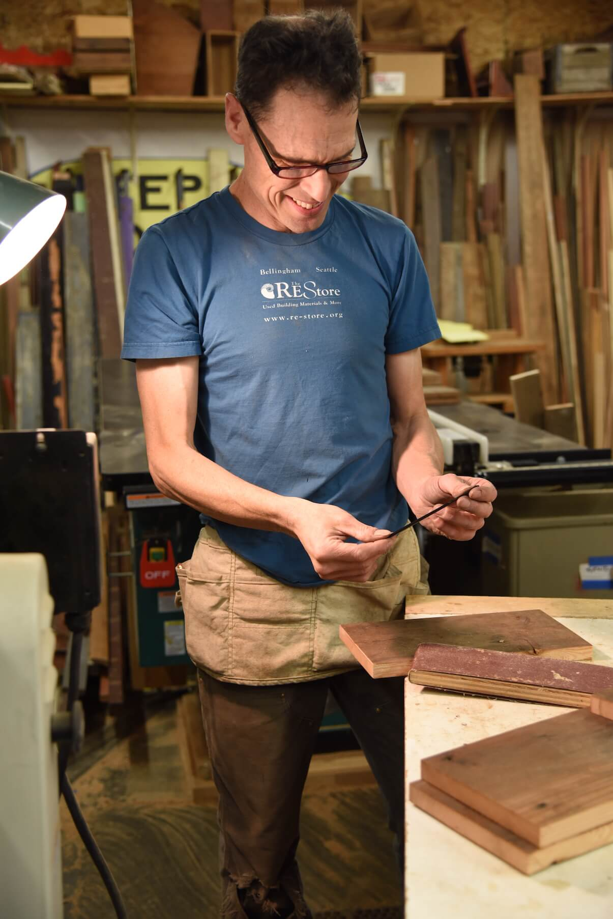 David Spangler, Revision Division builder, working in the woodshop