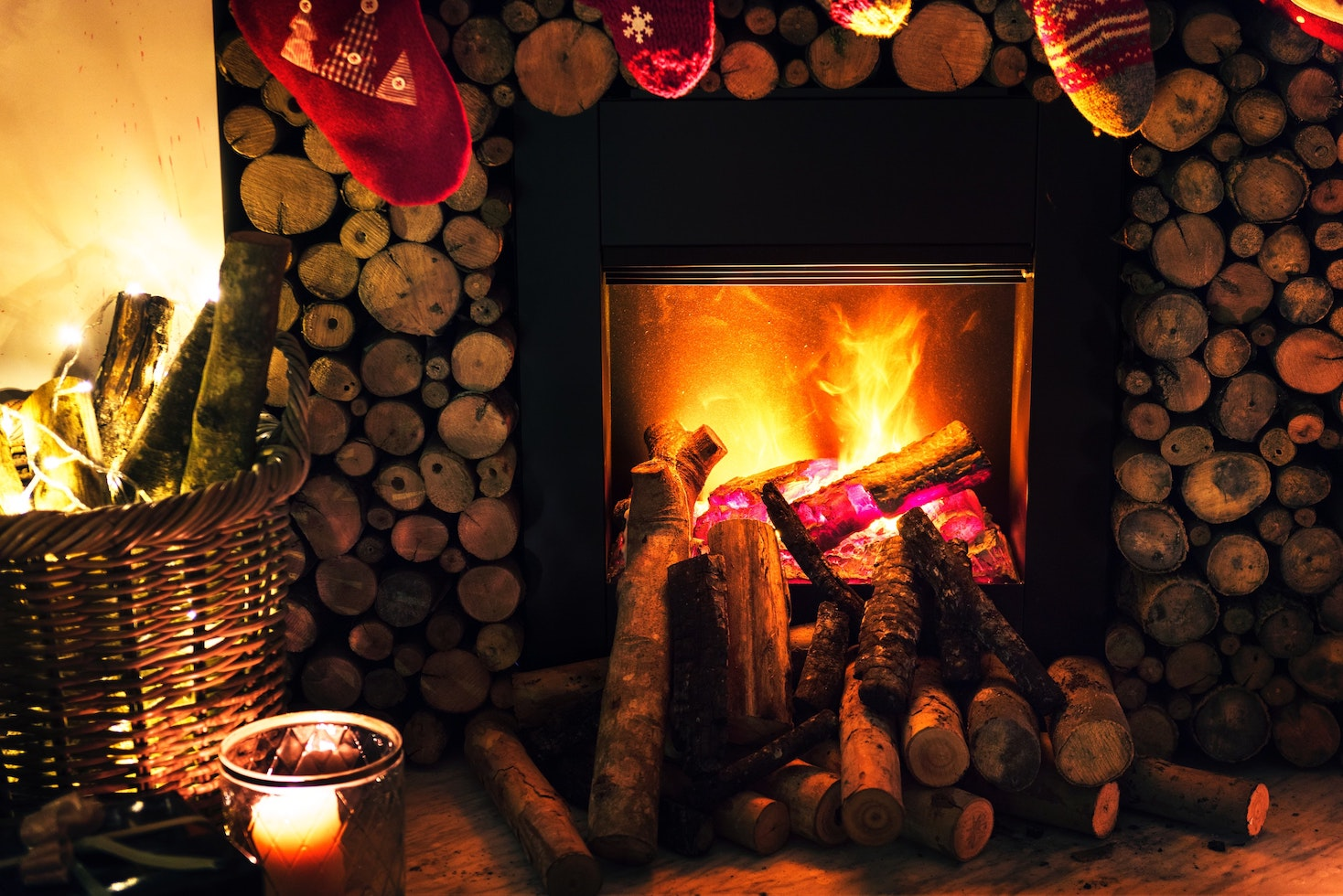 A cozy fire in a wood stove