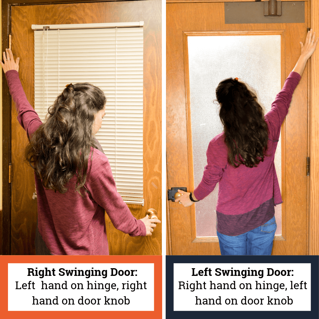 Diagram showing how to determine if door swings left or right