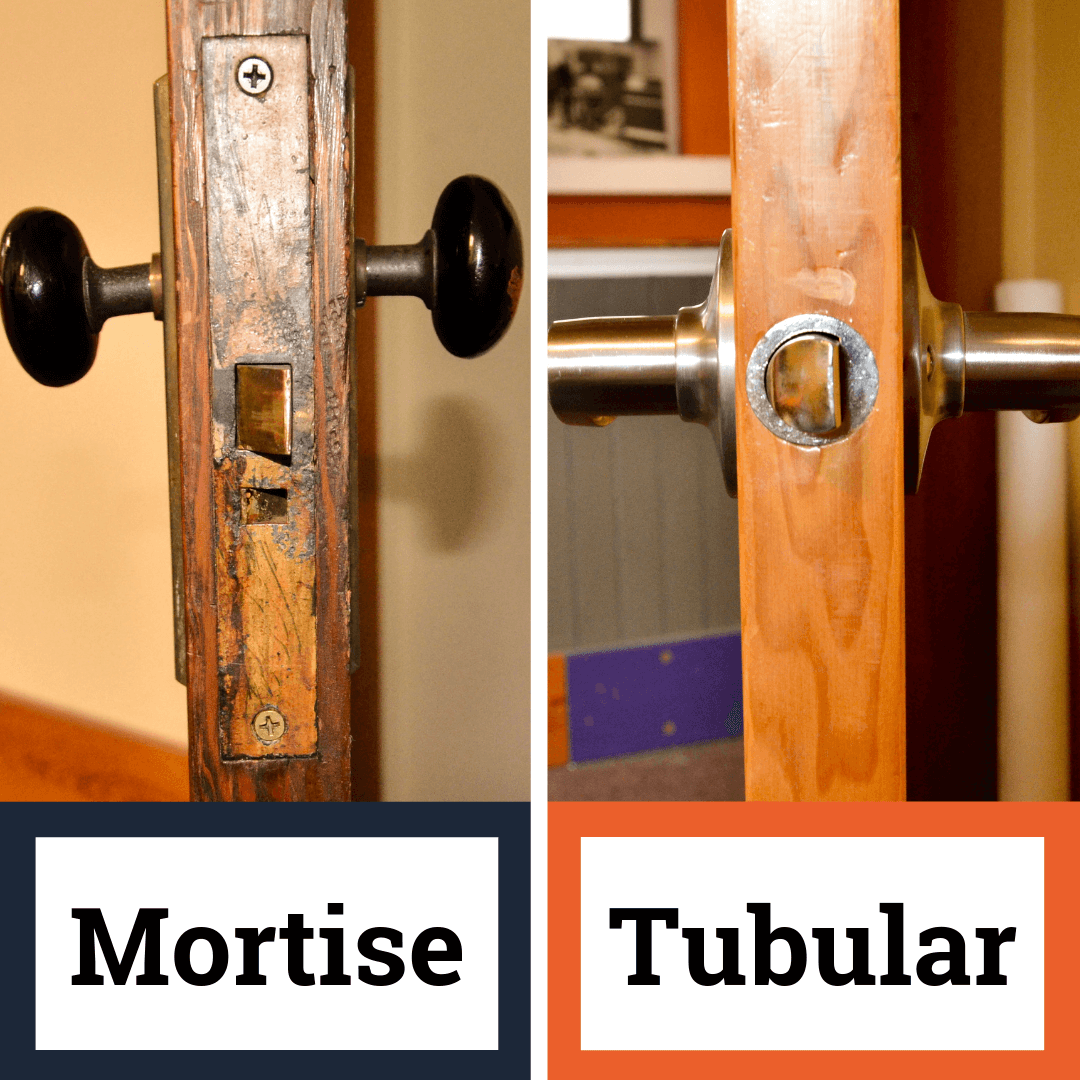 comparison of a mortise lock and a tubular lock