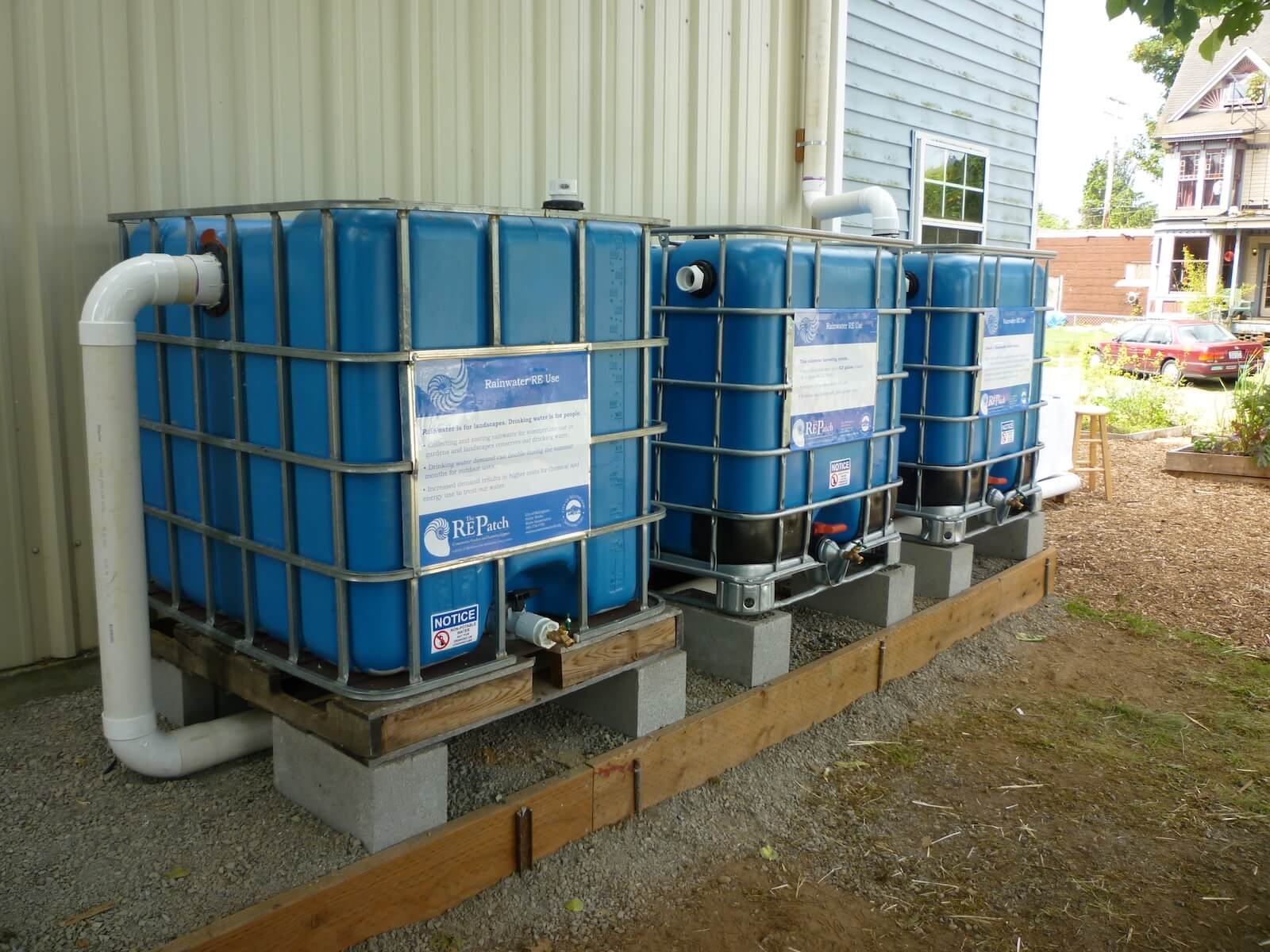 rain water collection tanks at The RE Store